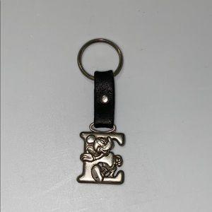 VTG Disney Pewter Mickey Mouse Letter E Keychain